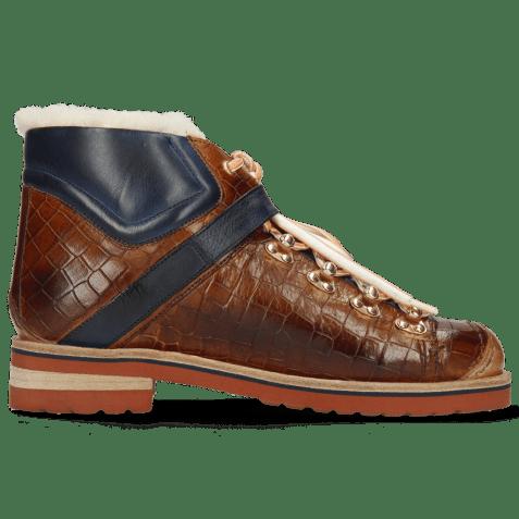 Ankle boots Eliza 1 Crock Wood Pisa Navy White Fur