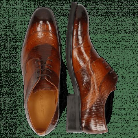Derby shoes Patrick 27 Crock Wood Ostrich Tan Guanna Wood Dice Lizzard