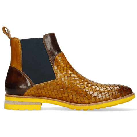 Ankle boots Brad 9 Woven Indy Yellow Mid Brown Elastic Navy
