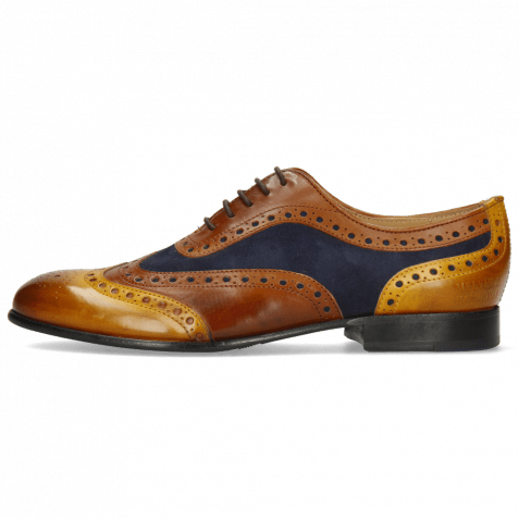 Oxford shoes Sally 97 Indian Yellow Wood Sheep Suede Reflex Blue Wood