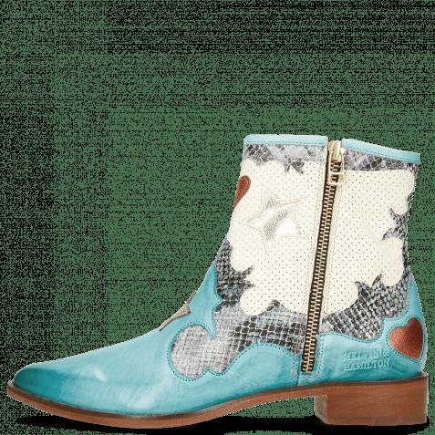 Ankle boots Marlin 12 Vegas Mermaid Snake Turquoise Perfo White Heart