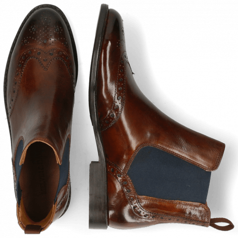Ankle boots Selina 6 Pisa Wood Elastic Navy