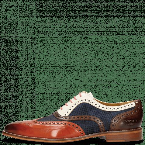 Oxford shoes Leonardo 21 Sweet Heart Textile Rubics Navy Dark Brown Vegas White