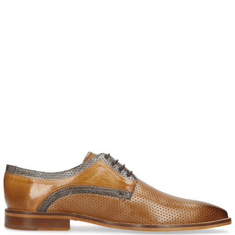 Derby shoes Alex 10 Berlin Perfo Nougat Moroccan Blue Sand