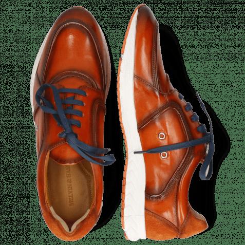 Sneakers Blair 18 Pisa Orange Brown Suede Pattini Electric Blue