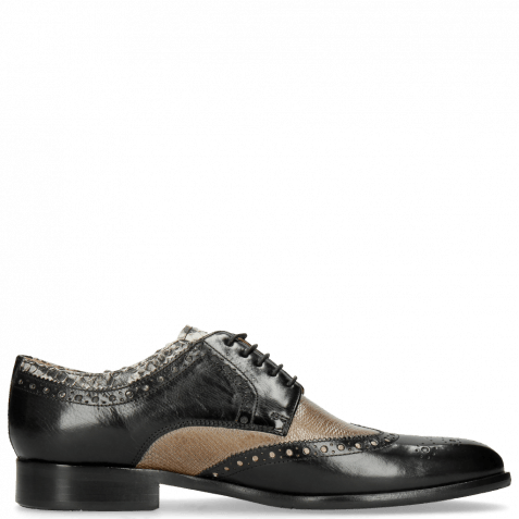 Derby shoes Henry 23 Black Tongue Python Print Off White