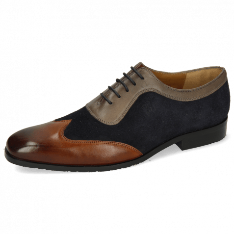 Oxford shoes Rico 8 Rio Mid Brown Suede Pattini Perfo Navy Stone