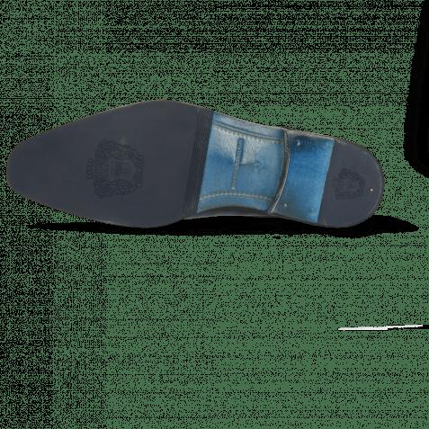 Derby shoes Martin 1 Venice Turtle Mid Blue Suede Pattini Indigo