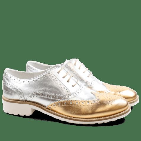 Oxford shoes Ella 22 Laminato Gold Silver Rook D White