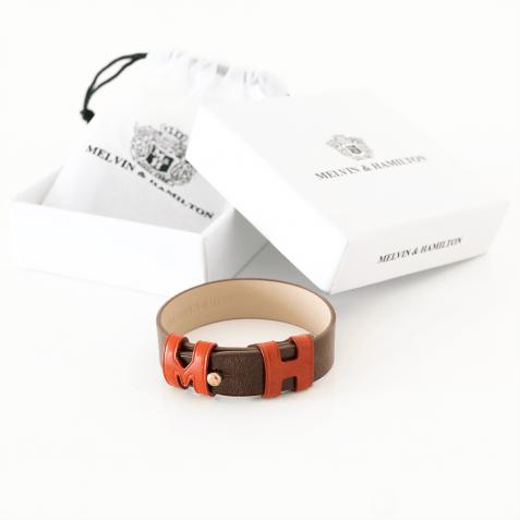 Bracelets Archie 1 Tan Loops Orange Studs Rose Gold