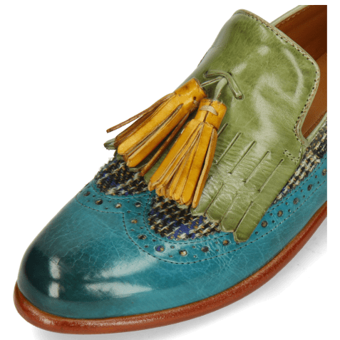 Loafers Selina 3 Turquoise New Grass Textile Bambino