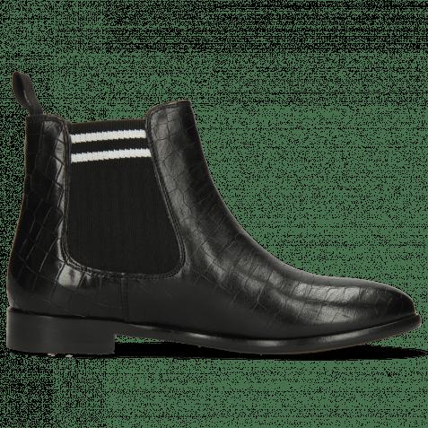 Ankle boots Daisy 6 Crock Black Lines Elastic Black White