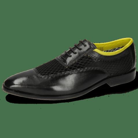 Oxford shoes Sara 1 Black Big Net Fluo Yellow