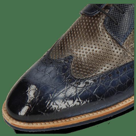 Derby shoes Bobby 1 Croco Marine Alcohol Finishing Perfo Grigio