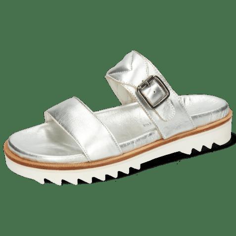 Mules Helen 15 Metallic Nappa Silver