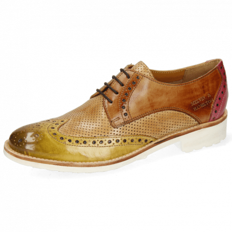 Derby shoes Amelie 3 Cedro Tan Fuxia Perfo New Sand