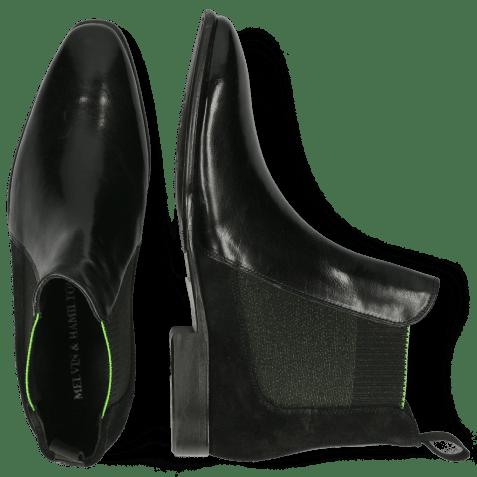 Ankle boots Emma 13 Black Suede Elastic Fluo Verde