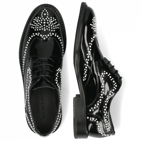 Derby shoes Sally 53 Patent Black Rivets White