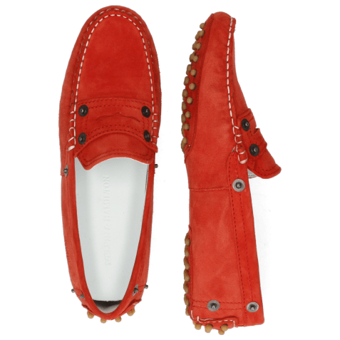 Loafers Caroline 1 Goat Suede Red Dots