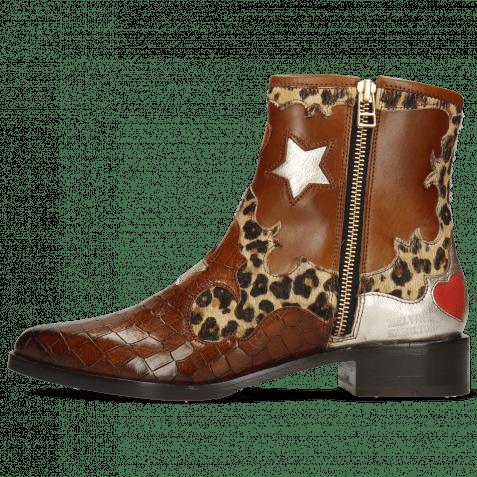 Ankle boots Marlin 12 Crock Mid Brown Hairon Leo Medio Cognac
