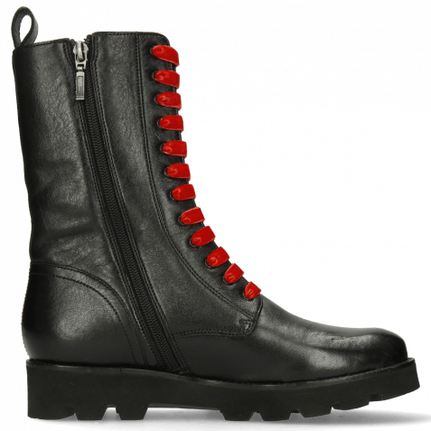 Boots Bonnie 28 French Nappa Black Salerno Red