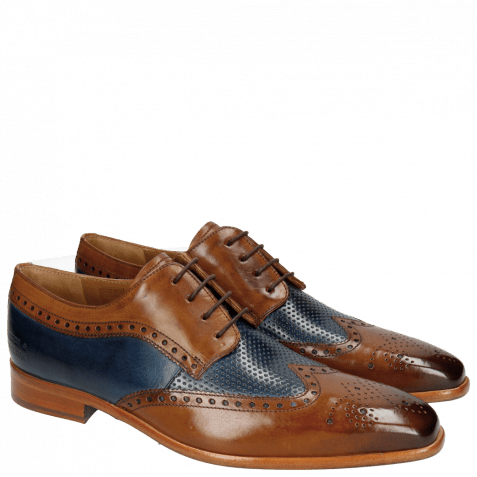 Derby shoes Ethan 10 Wood Perfo Navy