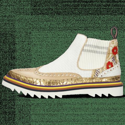 Ankle boots Lena 4 Grazli Gold Nude Rio Perfo White Brocade