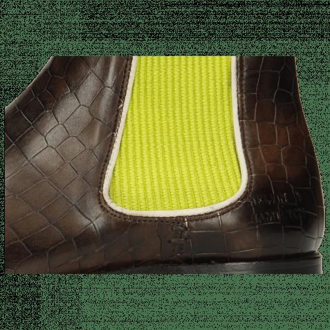 Ankle boots Amelie 4 Vegas Crock Espresso Elastic Ribbed Light Green