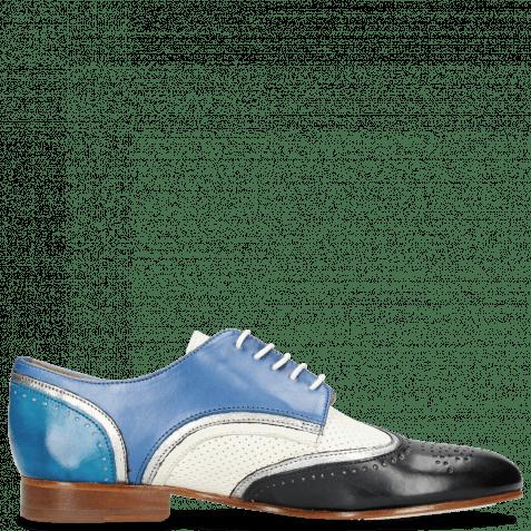 Derby shoes Sally 15 Vegas Navy Nappa Aztek Silver Perfo White Neptune Blue