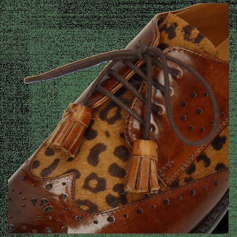Derby shoes Selina 41 Wood Hairon Leo Cognac