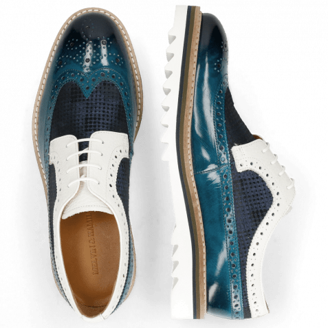 Derby shoes Trevor 10 Mid Blue Textile Dots Milled White