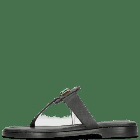 Mules Elodie 30 Nappa Black Stone Emerald