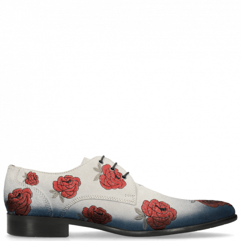Derby shoes Toni 1 Suede Pattini Jute Shade Navy Washed Embroidery Roses