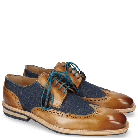 Derby shoes Marvin 13 Tan Denim Blue Modica