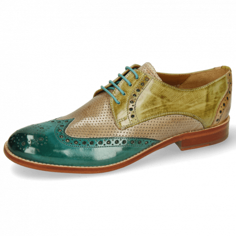 Derby shoes Amelie 3 Onda Perfo Light Grey Mid Green Sol