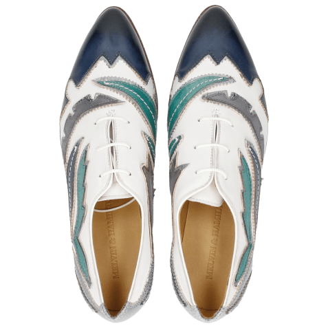 Oxford shoes Jessy 43 Rio White Marine Onda Glicine Frame
