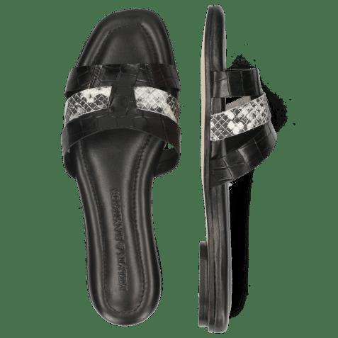 Mules Elodie 25 Vegas Croco Snake Black Off White