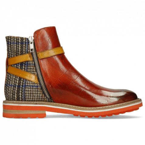 Ankle boots Amelie 80 Turtle Winter Orange Textile Quilesa Indian Yellow