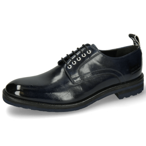 Derby shoes Eddy 54  Navy Eyelets White Strap