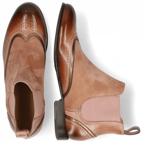 Ankle boots Sally 19 Rose Nappa Aztek Bronze Sheep Suede Old