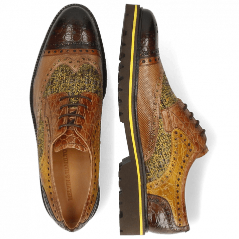 Derby shoes Henry 7 Croco Brown Tan Dice Sand Textile Cedro
