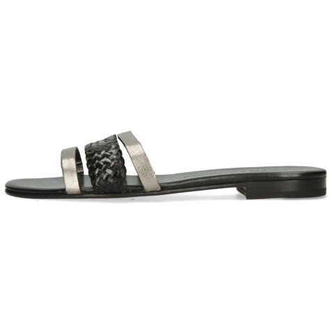 Mules Elodie 33 Talca Steel Woven Black Footbed