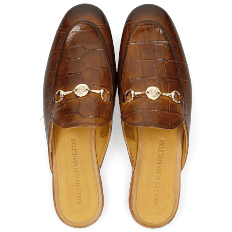Mules Scarlett 10 Big Croco Wood Trim Gold