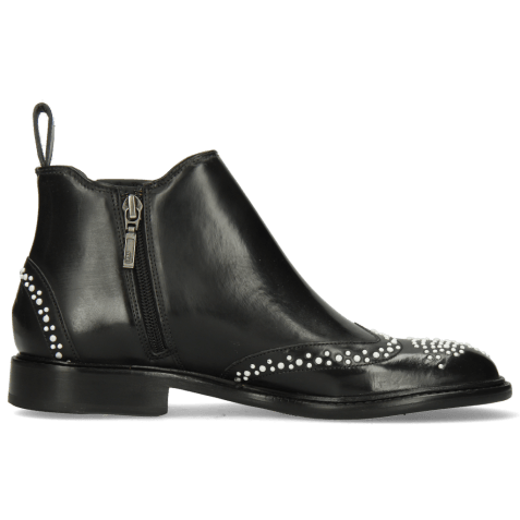 Ankle boots Sally 46 Rubber Black Rivets White
