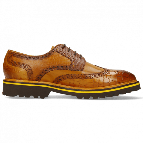 Derby shoes Matthew 33 Crock Indy Yellow Dice Mid Brown Lizzard