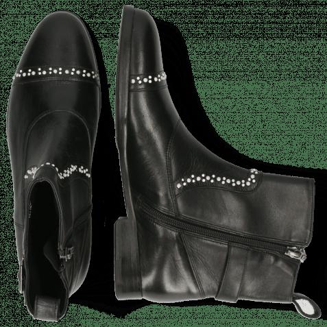 Ankle boots Susan 78 Nappa Black Rivets White