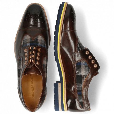 Derby shoes Tom 22 Mid Brown Textile Crayon Eyelet Gold