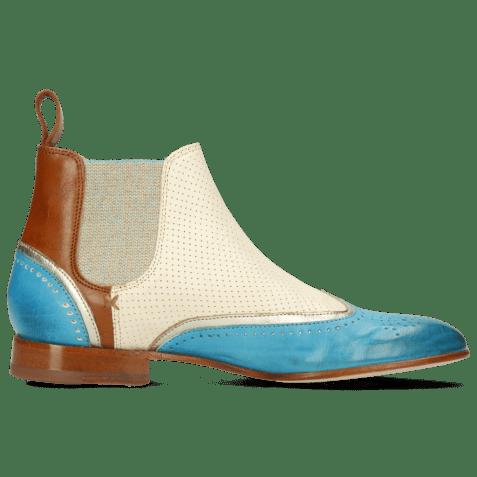 Ankle boots Sally 19 Imola Turquoise Tan Talca Platina Imola Perfo White