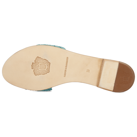 Mules Hanna 26 Woven Turquoise LS Beige