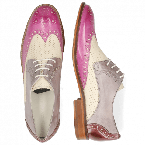 Derby shoes Amelie 3 Lilac Vegas Perfo White